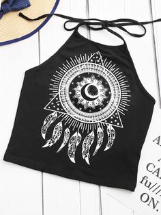 Tattoo Print Halter Neck Top