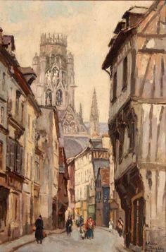 Adrien Segers, La rue Damiette, Rouen, 1940. A l'arrière-plan, l'église Saint-Ouen.