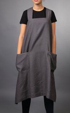 Pinafore / Linen Square-Cross Apron / No-ties Apron / Japanese style Apron / Long apron, Organic 100% linen / pinafore pattern