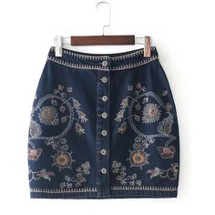 SheIn(sheinside) Flower Embroidery Denim Skirt (5.880 HUF) ❤ liked on Polyvore featuring skirts, multicolor, floral denim skirt, bodycon denim skirt, short blue skirt, button skirt and short summer skirts