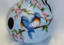 Blue Bird and Cherry Blossoms Gourd Birdhouse - Hand Painted Gourd on Etsy, $30.00