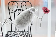 Romantic Rat with Pink Rose-knitted rat/mouse by Candyfleece