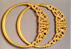 Pair of gold torcs of about 400 B C. from a hoard found at Erstfeld, Swiss Alps