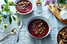 Roasted Beet Soup with Beet Green Polenta Croutons recipe on Food52