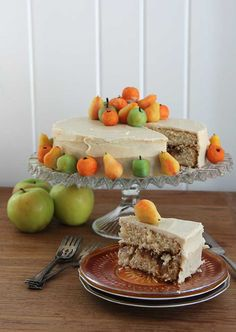 Amazing apple cake recipe with apple filling baked right inside, topped with cinnamon cream cheese frosting