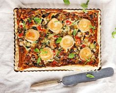 Ratatouille-goat cheese pie (in Finnish) Ruoka. Cheese Pies, Goat Cheese, Ratatouille, Vegetable Pizza, Quiche, Baking Recipes, Vegetables, Breakfast, Dinner Ideas
