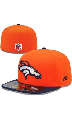 e552459bd NFL Mens Denver  Broncos New Era Orange Navy Blue On-Field Player Sideline 59FIFTY  Fitted  Hat  SPORTS