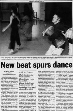 "Post (Athens, Ohio) April 2 2004, page 1. ""Sharing Cultures"" ""New beat spurs dance"" ""Ohio University African Ensemble"" :: Ohio University Archives"