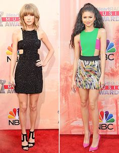 Taylor Swift flashed her toned tummy in a sparkle-embellished little black dress by Kaufmanfranco. Zendaya Coleman was a true delight in a lime and raspberry cutout creation by Fausto Puglisi.