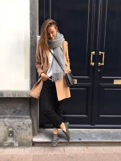 Cette tenue est parfait pour hiver parce que l'écharpe est  très grande et confortable. L'anorak est parfait passe-partout en hiver. Le pantalon noir est large mais, ce sont à la mode. Les chaussures ne sont pas mon préféré parce que ce sont dépasse. Cette tenue va garder au chaud pendant l'hiver.