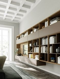 Arredamento Casa Design, Made in Italy Bookcase Wall Unit, Living Room Bookcase, New Living Room, Living Room Decor, Living Spaces, Buffets, Floating Wall Unit, Muebles Living, Cozy House