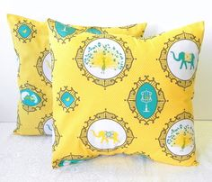 Decorative Pillow Covers. Set of Two 16x16. Yellow and Turquoise elephant and peacock fabric $28