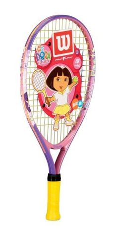 """Wilson Dora 19"""" Youth Tennis Racquet by Wilson. $19.95. The Dora the Explorer Wilson racquet is perfect for beginners just starting to play tennis. Featuring Dora the Explorer on the head of the racquet.. Save 33%!"""