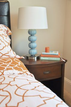 Lovin this lamp - would be great in dining room or masterbed - just great with the orange!!
