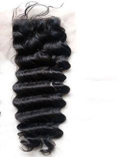 """6A & 7A 100% virgin human hair deep wave closure.  Available in Indian, Malaysian, Brazilian, Peruvian, Mongolian, Chinese, Russian, Filipino, Eurasian, Cambodian, European, Burmese and Bohemian.  Swiss Lace. 4"""" x 4""""."""
