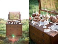 Vintage Fall Wedding Inspiration dressers holding snacks
