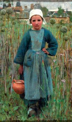 """""""Peasant Girl Carrying A Jar,"""" Quimperlé -- by George Clausen (1852 – 1944, English)"""
