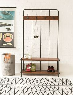 Love the idea of using this old school hall rack as hallway furniture