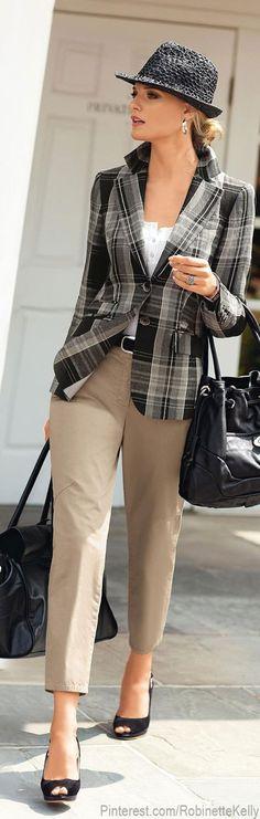 Madeleine   Checked Charcoal Blazer with khaki crops & tweed hat
