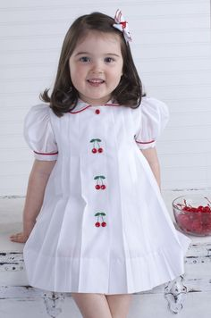 Sewing Issue Cherry Dress By Laurie Anderson Machine Embroidery Design Issue Little Rabbit Vestee Jacket: Girl's Version with Flower Appliqu. Frocks For Girls, Kids Frocks, Dresses Kids Girl, Kids Outfits, Baby Dresses, Baby Dress Design, Frock Design, Fashion Kids, Fashion 2016