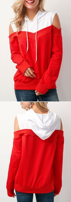 Patchwork Long Sleeve Cold Shoulder Hoodie #red #christmas #christmasgifts #coldshoulder #hoodie #womensfashion #shopping