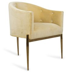 The all- new Art Deco Dining Chair has arrived. Premiering in Como Hollandaise Velvet, it is like no other dining chair we've created before. This sophisticated and unique seat sits staunchly over a b