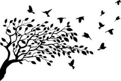 Illustration vectorielle de la silhouette d'arbre et oiseaux