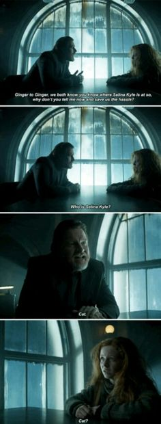 """""""Ginger to ginger... who is Selina Kyle?"""" - Bullock and Ivy #Gotham"""