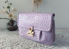 Lilac leather clutch, trendy ostrich leather, evening bag, spring 2015 color, shoulder bag, sac à main pochette