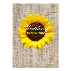 modern country wedding yellow Sunflower burlap Invite
