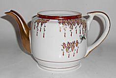 Cpo Porcelain China Hand Decorated Floral & Gold W/bird
