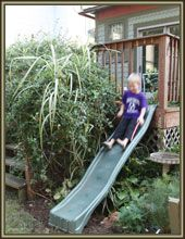 The Back Deck, a Slide, a Sandbox and a Fort | Stately Kitsch