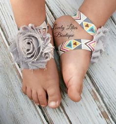 Baby Barefoot Sandals .. Gray Flowers on Aztec .. Toddler Sandals .. Newborn Sandals .. Baby Flower Sandals (( Whattt??!!! I never saw these....sooo cute