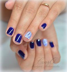semilac 095 - Szukaj w Google Blue Nails, Pedicure, Hair And Nails, Hair Makeup, Nail Designs, Hair Beauty, Make Up, Strong, Kawaii