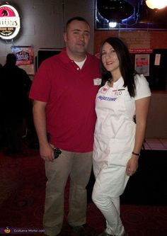 Amanda: My husband is dressed as Jake from State Farm. His costume is really simple. Just a red polo, khakis, and name badges. I am dressed as Flo from Progressive. I...