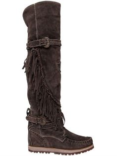 EL VAQUERO - 70MM QUEEN FRINGED SUEDE TALL BOOTS - LUISAVIAROMA - LUXURY SHOPPING WORLDWIDE SHIPPING - FLORENCE