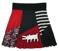 Plus Size Keith Haring Dog Boho Chic Hippie Skirt Womens 2X 3X upcycled clothing from Twinkle