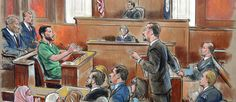 This image is an example of a courtroom sketches. The court room sketches are meant to bring one into the court room since cameras are not allowed and I think this image does capture the moment.