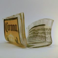 Recycled Bottle, Corona Beer, Fused Glass Business Card Holder. $10.00, via Etsy.