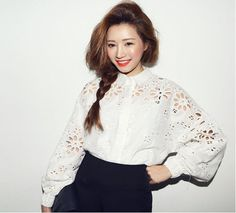 New Blouses Time-limited Limited Hollow Out Floral Tops 2015 Stylenanda Cutout Shirt Long-sleeve Lantern Sleeve Blouse For Women Korean Blouse, Floral Tops, Cutout Shirts, Cotton Pictures, Korean Fashion Online, Sammy Dress, Cotton Blouses, Pretty Outfits, Blouses For Women