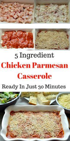 30 Minute Chicken Parmesan Casserole With just 5 ingredients this is the perfect meal for busy nights Tastefully Frugal AD CampbellSavings # Chicken Parmesan Casserole, Chicken Parmesan Recipes, Recipe Chicken, Chicken Parmesan Recipe No Breadcrumbs, Easy Supper Ideas Chicken, Chicken Bake Recipes Easy, Recipes With Leftover Chicken, Parmasean Chicken, Italian Chicken Casserole