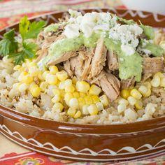 Slow Cooker Peruvian Pulled Pork Cauliflower Rice Bowls