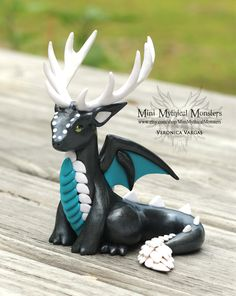 Graphite Pearl, Teal and White Antlered Dragon by MiniMythicalMonsters.deviantart.com on @DeviantArt