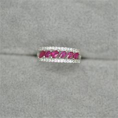 Affordable Elegant Natural Ruby Eternity Engagement Band Ring for Women