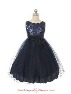 Navy Elegant Stunning Sequined Bodice Girl Dress $50 sash can be done Navy or Silver