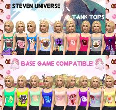 Sims 4 CC's - The Best: Steven Universe Tank Tops by SimsRebelCreators