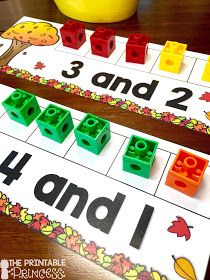 You'Re going to love these easy fall centers for kindergarten students and homeschool families! your students will practice both literacy and math skills to Kindergarten Centers, Kindergarten Classroom, Fun Math, Teaching Math, Math Activities, Preschool Activities, Kindergarten Calendar, Kindergarten Addition, Preschool Learning