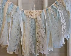 blue fabric banner, lace garland, window valence, party prop, smash cake, nursery, 29 X 11