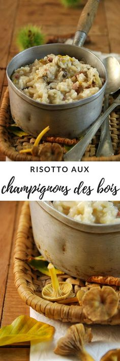 Risotto aux champignons des bois Cereal Recipes, French Food, Paella, Italian Recipes, Entrees, Good Food, Food And Drink, Cooking Recipes, Rice