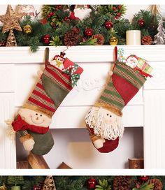 Litthing Calcetines de Navidad Calcetines de Santa Decoraci/ón Tejido de Navidad /Árbol Colgante Bolsa de Dulces Regalo para Ni/ños Festival de Ni/ños Decoraci/ón Navide/ña Adornos